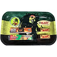 BOB Marley Tray RIZLA Jamaican Rum Rolling Papers Grinder Cone Tips RAW Smoking-Stylex from Amazon